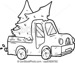 Line drawing of a pickup truck carrying christmas trees.