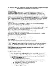 Long Case Presentation In Clinical Exams