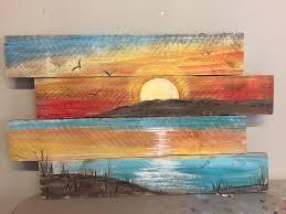 pallet painting sunset beach 40