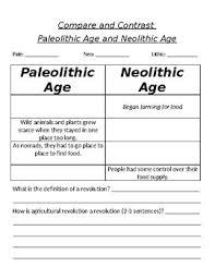 Neolithic And Paleolithic Venn Diagram Paleolithic And Neolithic Age Worksheet Teachers Pay Teachers