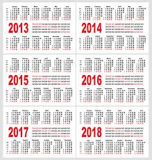 Calendar 2013 Template Set Of 2013 2018 Calendars Template Vector Graphic 04 Free