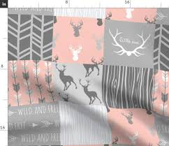 Sugar Pine Design Fabric Spoonflower Girls Deer Quilt Fabric Quilt Grey Patchwork Baby Girl Woodland Nursery Nursery Decor Cheater Quilt By Sugarpinedesign Printed On Fleece