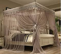 Amazon.com: Mengersi Princess 4 Corners Post Bed Canopy Bed curtains ...