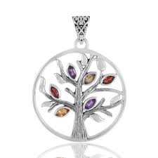 unique design real amethyst citrine garnet and peridot gemstone sterling silver tree of life