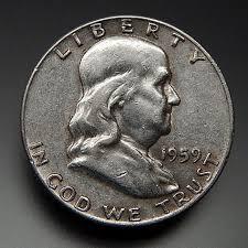 1959 Franklin Half Dollar Value Chart 1959 Us Mint Collectible Franklin Half Dollar Coin Gold