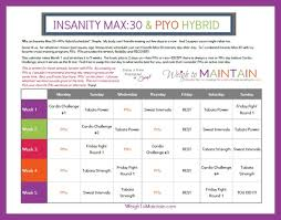 Beachbody Insanity Max:30 Piyo Hybrid Workout Calendar - Weigh To ...
