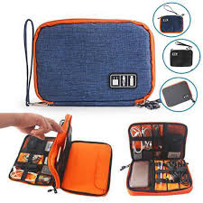 details about electronic cord organizer travel cable bag double layer digital storage pouch