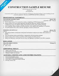 general construction sample resume sample resume for construction worker