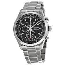 seiko neo classic alarm perpetual black dial stainless steel men s seiko neo classic alarm perpetual black dial stainless steel men s watch spc125