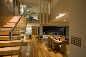 eye catching open floor plans loft ideas with glass banister and chrome handle staircase design in luxury modern house decoration images