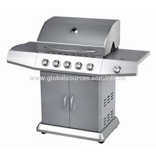 china high end stainless steel gas bbq grill 5 burners with side burners and big