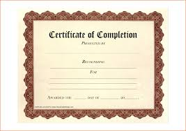 Printable Certificates Of Completion 24 Free Printable Certificate Of Completion Job Resumes Word 2