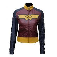 wonder woman faux leather jacket gal gadot