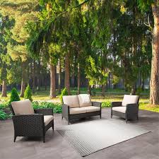 corliving rattan loveseat and chair