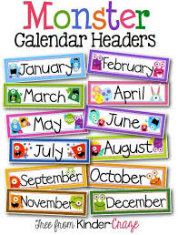 november calendar header monster theme calendar headers header maths and activities