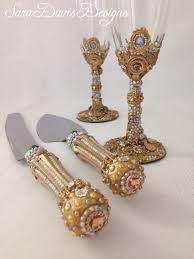 Gold Toasting Flutes Beauty and the Beast Wedding Gold Cake