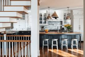 Black And White Small Kitchen Dark Backsplash With Light Countertops