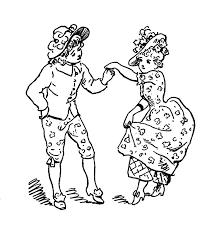 Vintage Kids Printable Minuet Coloring Page