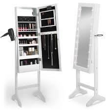 White Makeup Organizer Furniture Accessories White Wooden Jewelry Armoire Makeup
