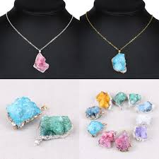 details about natural crystal agate mineral rock charm pendant diy crafts necklace jewelry acc
