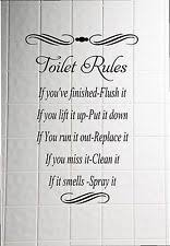 washroom toilet rules quote wall stickers bathroom removable decals home decor on toilet wall art quotes with bathroom wall stickers ebay
