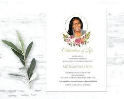 Memorial Announcement Cards Celebration Of Life Announcement Memorial Service Invitation