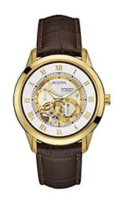 bulova men s designer automatic self winding watch leather strap bulova men s designer automatic self winding watch leather strap white gold dial 97a121