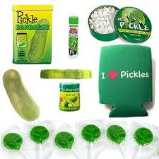 extreme pickle gift pack 8pc set pickle bandages lip balm mints stress toy koozie lollipops wristband dill pickle salt