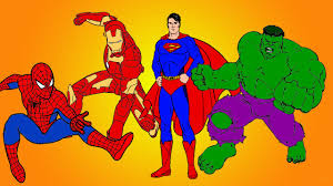 Small Picture Spiderman vs Superman vs Hulk vs Ironman Coloring book YouTube