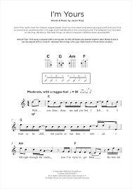 I M Yours Ukulele Strumming Pattern Extraordinary I'm Yours Sheet Music By Jason Mraz Beginner Ukulele 48