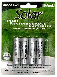 Moonrays 97125 Rechargeable NiCd AA Batteries For SolarPowered Solar Garden Lights Batteries Rechargeable