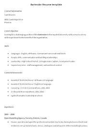 Sample Bartender Resume Objectives Bartender Resume Objective