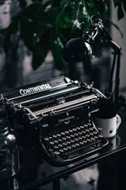 Black vintage typewriter, keyboard, old ...