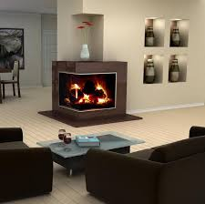 interior modern interior design with corner glass fireplace and comfy brown leather sofa decor ideas