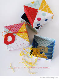 cool things to make with leftover wrapping paper patchwork paper origami gift boxes easy