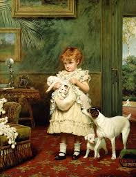girl with dog painting girl with dogs by charles burton barber