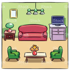 colorful furniture. Colorful Drawing Of Living Room With Furniture Royalty-free