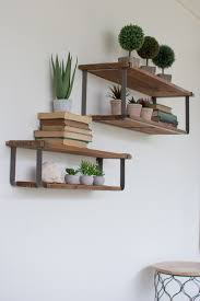wood metal wall mounted shelving with two shelves each