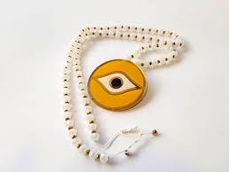 beads and big glass eye pendant handmade