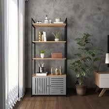 Buscando portas de madeira cinza? Estante Metal Madeira Estilo Industrial Com Porta Vazada Cor Cinza Mod Mimo Kabum