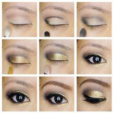 golden glitter eye makeup tutorials for black eyes