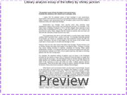 literary analysis essay of the lottery by shirley jackson  literary analysis essay of the lottery by shirley jackson research paper for literary analysis essay