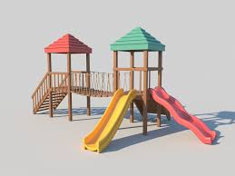 playground wooden fort with slides 3d model