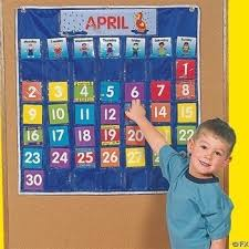 Calendar Pocket Chart Set Nylon Classroom Calendar Pocket Chart By Fun Express