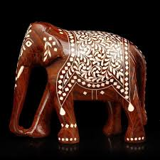Small Picture Collectible India Lucky Elephant Idol Wooden Painted Sculpture