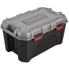 Measures 24.5x 16.75 x 10.5 (base dimensions: Husky 20 Gal Storage Bin 17200553 The Home Depot
