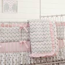 pink and gray chevron 3 piece crib bedding set