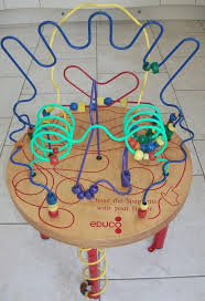 childrens wooden bead frame table spaghetti legs by educo
