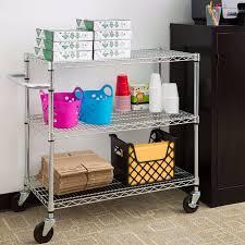 Kitchen Space Savers Metal Storage Cart 3 Shelf Lock Wheels Handle Space Saver Rack