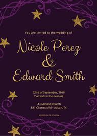 Wedding Invitations Templates Purple Purple And Gold Wedding Invitation Templates By Canva
